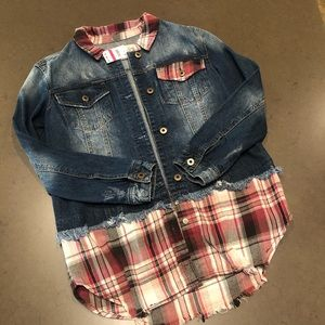 American Rag Jean Jacket w/attached Flannel Shirt